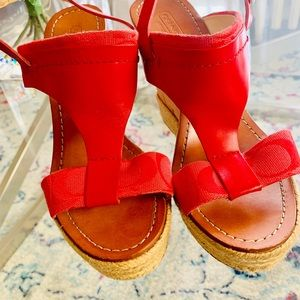 COACH RED LEATHER WEDGES